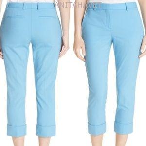 THEORY Cuffed Stretch Wool Crop Pants Blue